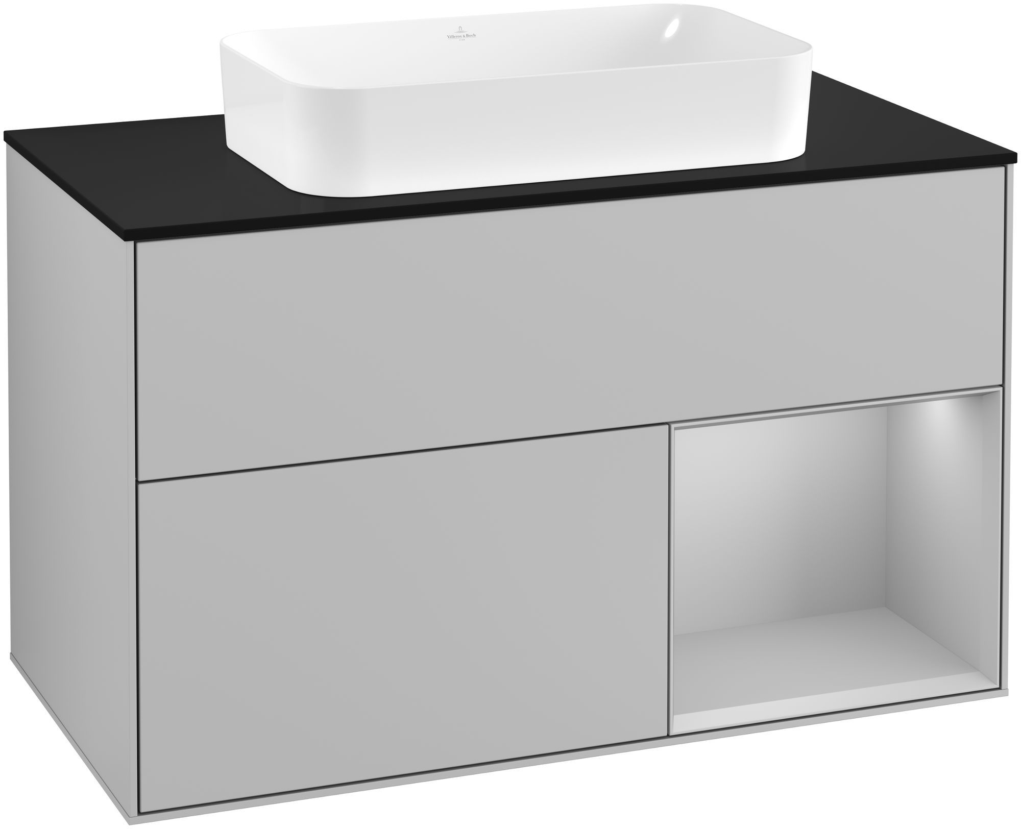 Villeroy & Boch Finion G25 Waschtischunterschrank mit Regalelement 2 Auszüge Waschtisch mittig LED-Beleuchtung B:100xH:60,3xT:50,1cm Front, Korpus: Light Grey Matt, Glasplatte: Black Matt G252GJGJ