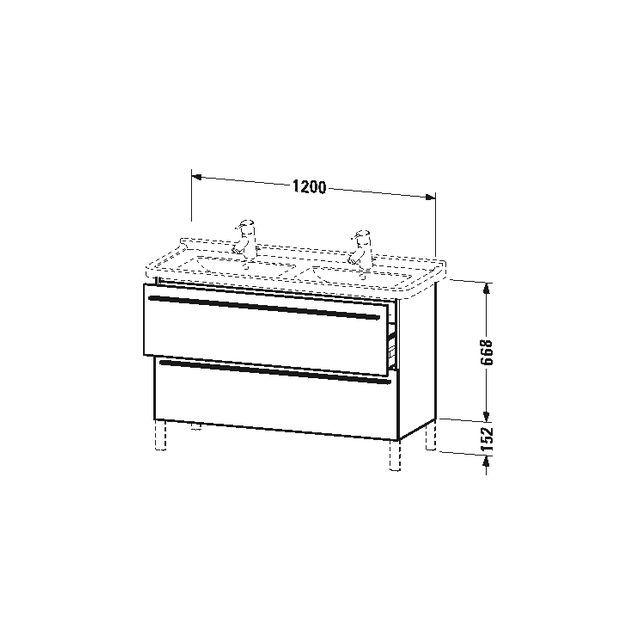 Duravit X-Large Waschtischunterschrank wandhängend B:120xH:66,8xT:47 cm mit 2 Auszügen kastanie dunkel XL653805353
