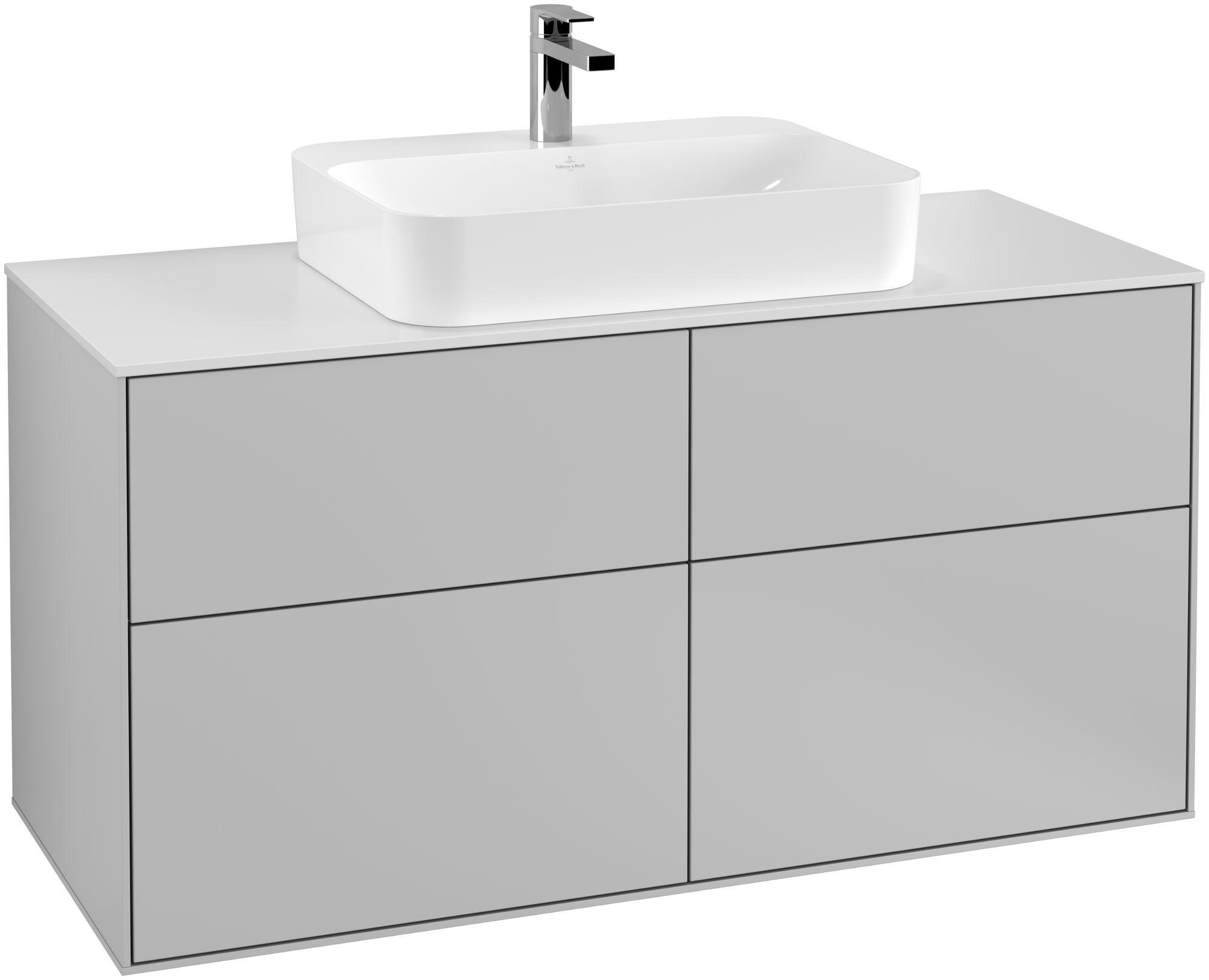 Villeroy & Boch Finion F38 Waschtischunterschrank 4 Auszüge Waschtisch mittig B:120xH:60,3xT:50,1cm Front, Korpus: Light Grey Matt, Glasplatte: White Matt F38100GJ