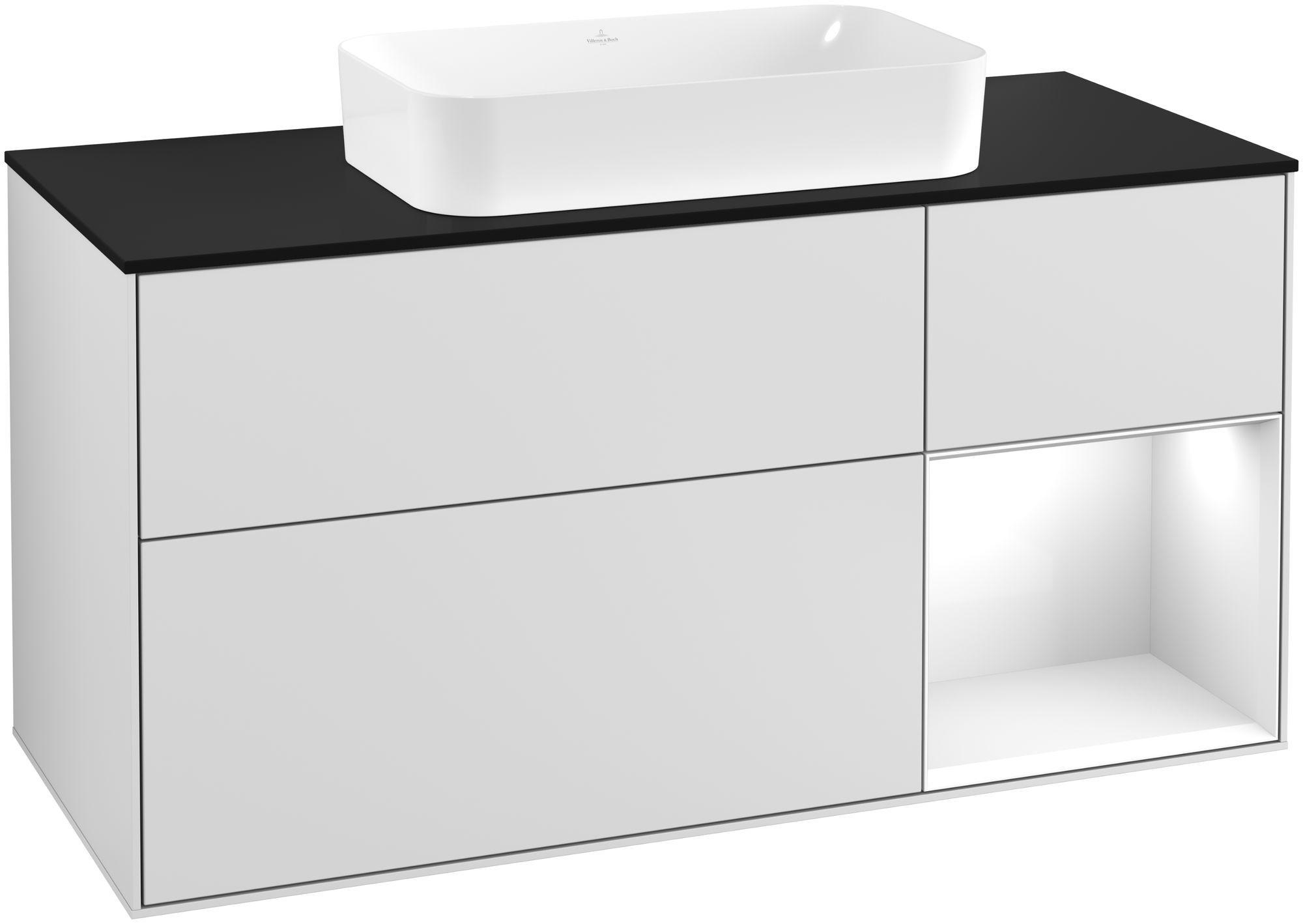 Villeroy & Boch Finion F30 Waschtischunterschrank mit Regalelement 3 Auszüge Waschtisch mittig LED-Beleuchtung B:120xH:60,3xT:50,1cm Front, Korpus: Weiß Matt Soft Grey, Regal: Glossy White Lack, Glasplatte: Black Matt F302GFMT