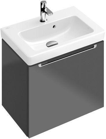 Villeroy & Boch Subway 2.0 Waschtischunterschrank 1 Auszug B:485xT:380xH:420mm glossy weiß Griffe silberfarbig matt A68500DH