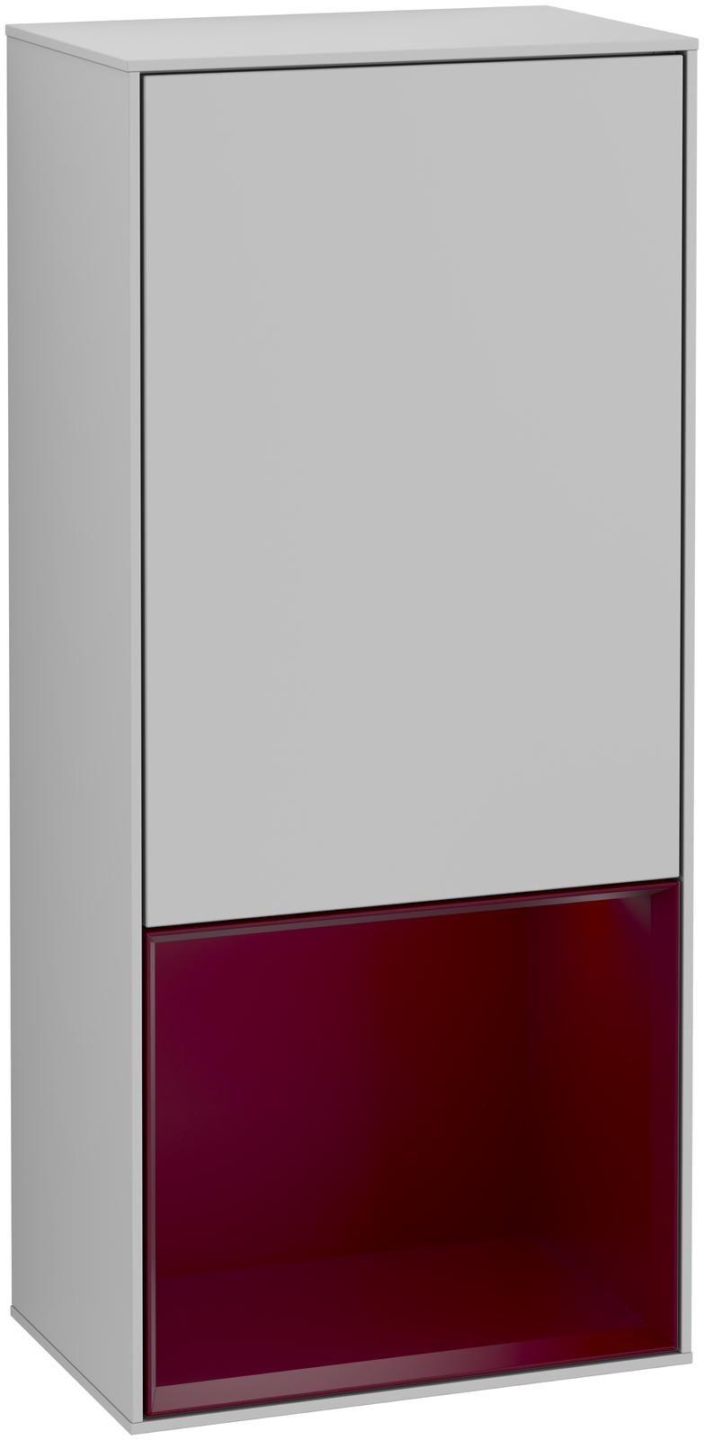 Villeroy & Boch Finion G54 Seitenschrank mit Regalelement 1 Tür Anschlag links LED-Beleuchtung B:41,8xH:93,6xT:27cm Front, Korpus: Light Grey Matt, Regal: Peony G540HBGJ