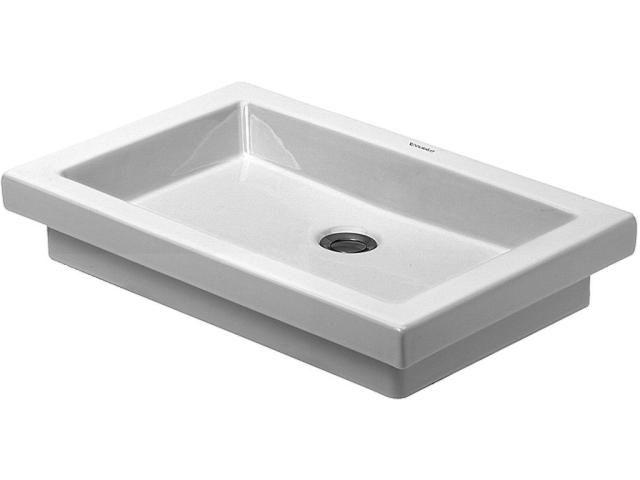 Duravit 2nd floor Einbauwaschtisch B:58xT:41,5cm ohne Hahnloch mit Überlauf geschliffen weiß mit Wondergliss 03175800291