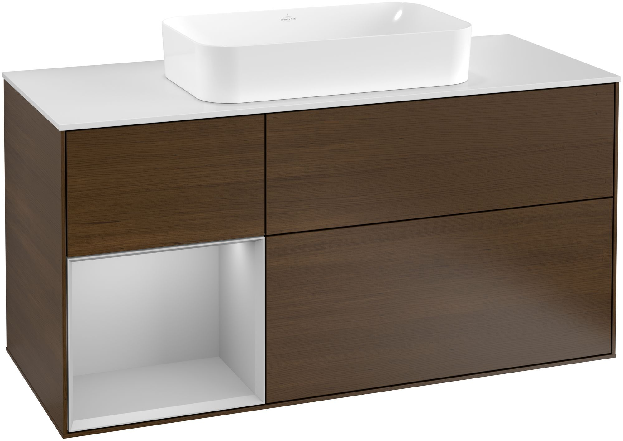 Villeroy & Boch Finion F29 Waschtischunterschrank mit Regalelement 3 Auszüge Waschtisch mittig LED-Beleuchtung B:120xH:60,3xT:50,1cm Front, Korpus: Walnut Veneer, Regal: Light Grey Matt, Glasplatte: White Matt F291GJGN
