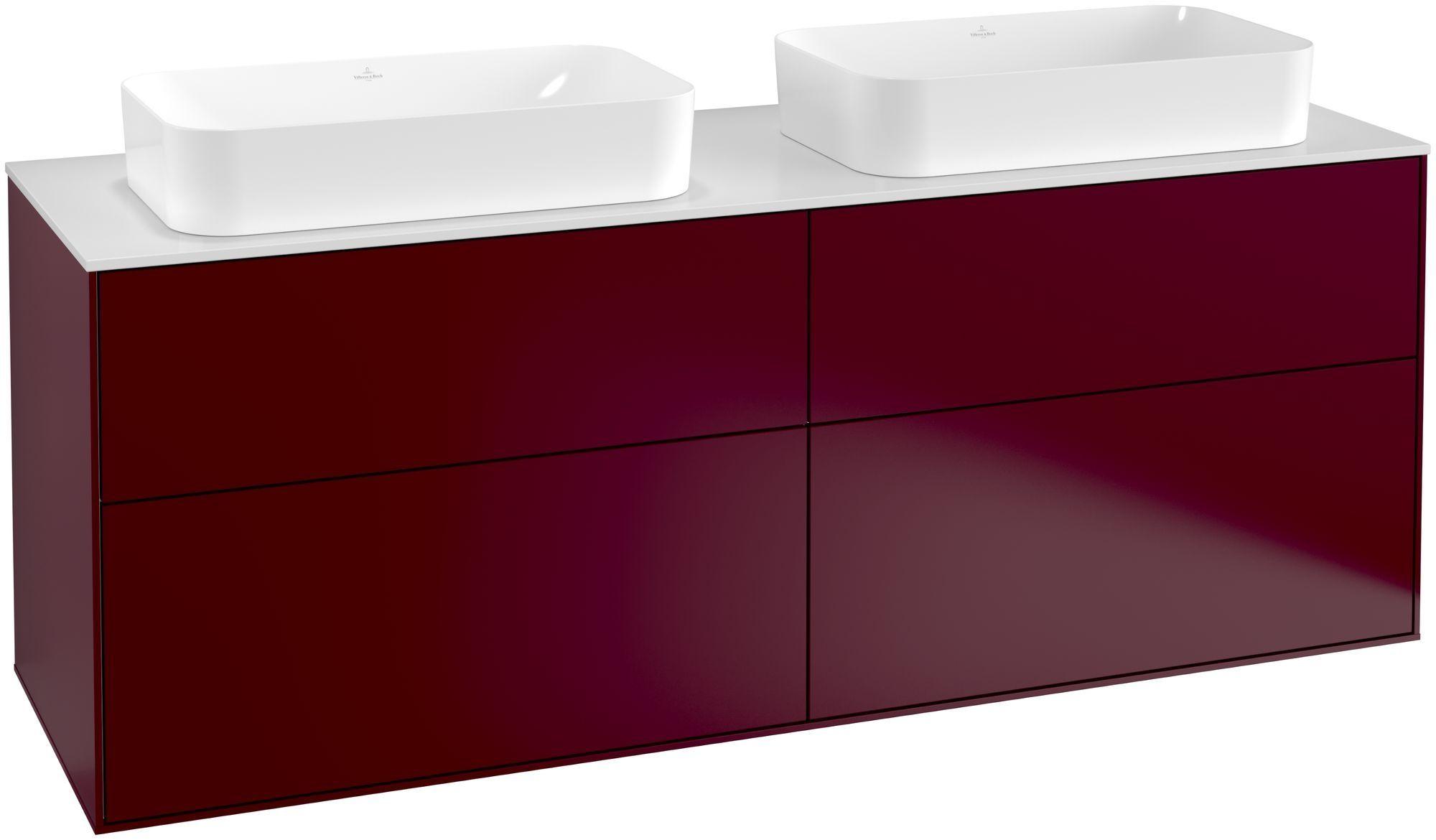 Villeroy & Boch Finion F31 Waschtischunterschrank 4 Auszüge B:160xH:60,3xT:50,1cm Front, Korpus: Peony, Glasplatte: White Matt F31100HB