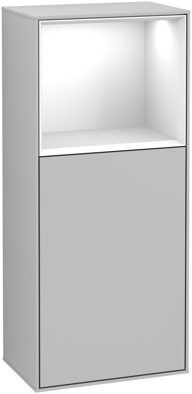 Villeroy & Boch Finion G50 Seitenschrank mit Regalelement 1 Tür Anschlag links LED-Beleuchtung B:41,8xH:93,6xT:27cm Front, Korpus: Light Grey Matt, Regal: Glossy White Lack G500GFGJ