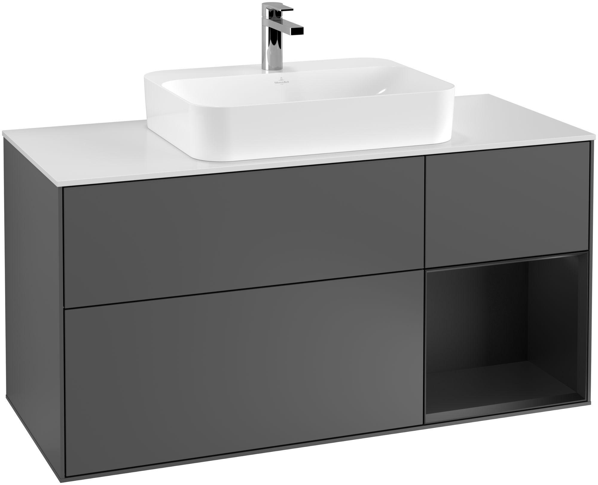Villeroy & Boch Finion G42 Waschtischunterschrank mit Regalelement 3 Auszüge Waschtisch mittig LED-Beleuchtung B:120xH:60,3xT:50,1cm Front, Korpus: Anthracite Matt, Regal: Black Matt Lacquer, Glasplatte: White Matt G421PDGK