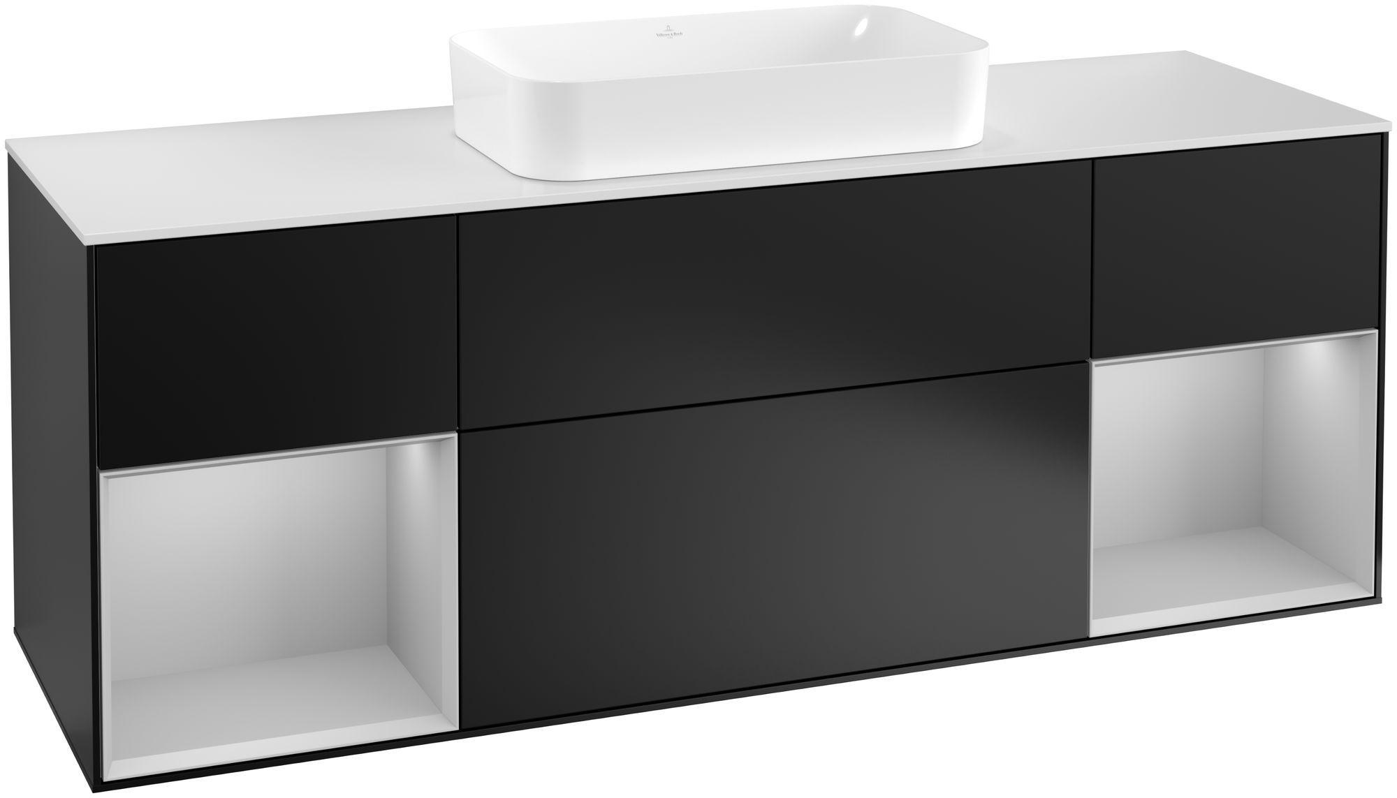 Villeroy & Boch Finion F33 Waschtischunterschrank mit Regalelement 4 Auszüge Waschtisch mittig LED-Beleuchtung B:160xH:60,3xT:50,1cm Front, Korpus: Black Matt Lacquer, Regal: Light Grey Matt, Glasplatte: White Matt F331GJPD