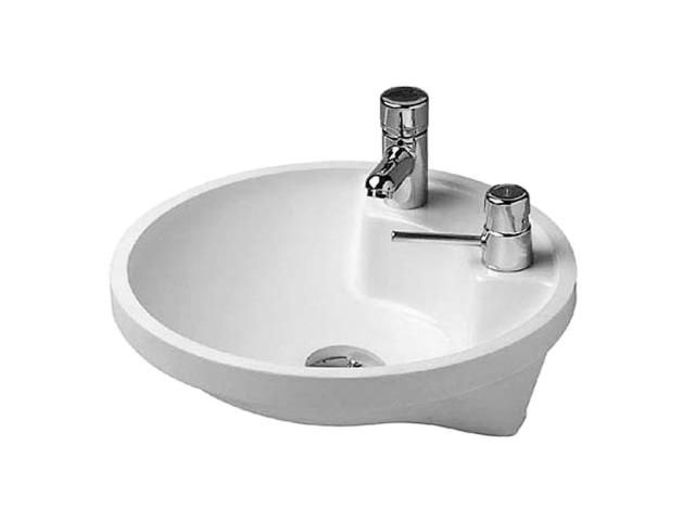 Duravit Architec Einbauwaschtisch rund DM:40cm 1 Hahnloch-Vorstich links 1 Vorstich für Seifenspender rechts ohne Überlauf weiß 0462400000