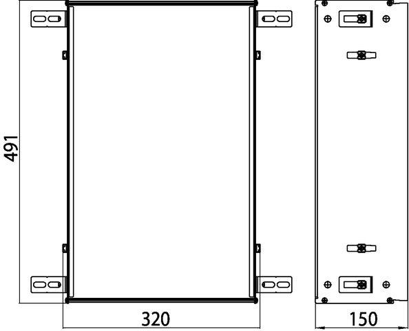 Emco asis Modul 300 Einbaurahmen für UP-Module mit 495mm Höhe 973200031