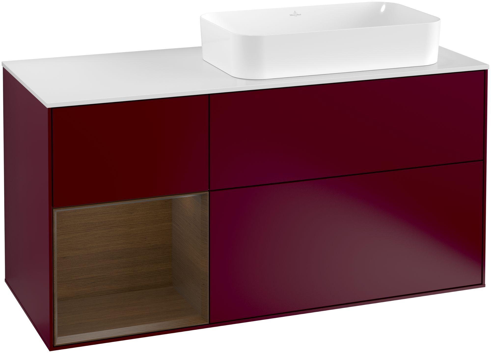 Villeroy & Boch Finion F27 Waschtischunterschrank mit Regalelement 3 Auszüge Waschtisch rechts LED-Beleuchtung B:120xH:60,3xT:50,1cm Front, Korpus: Peony, Regal: Walnut Veneer, Glasplatte: White Matt F271GNHB