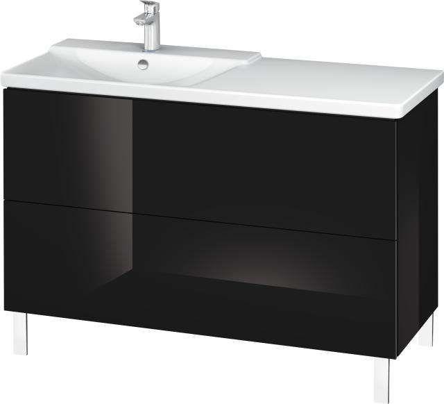 Duravit L-Cube Waschtischunterschrank bodenstehend für 233312 B:122xH:70,9xT:48,1cm 2 Auszüge schwarz hochglanz LC660304040
