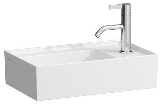 Laufen by Kartell Handwaschbecken mit einem Hahnloch ohne Überlauf Armaturenbank rechts B:46xT:28cm weiß mit CleanCoat LCC H8153344001111