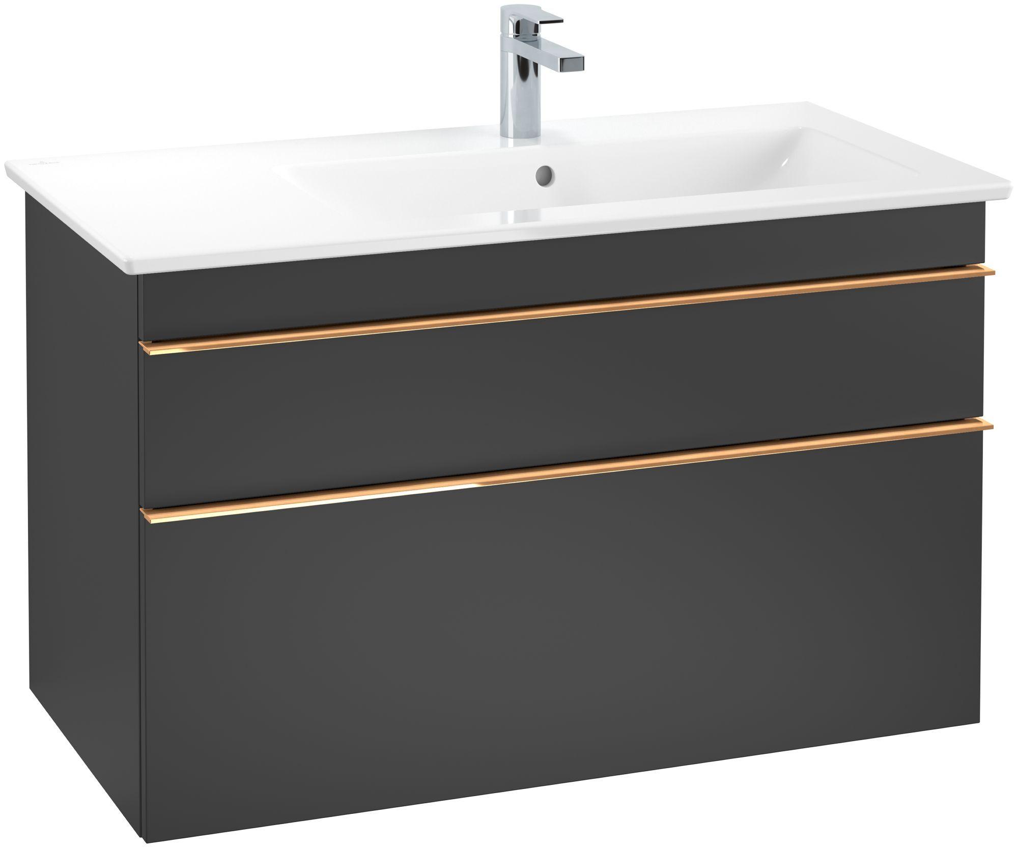 Villeroy & Boch Venticello Waschtischunterschrank 2 Auszüge B:95,3xH:59xT:50,2cm black matt lacquer Griffe copper A92805PD