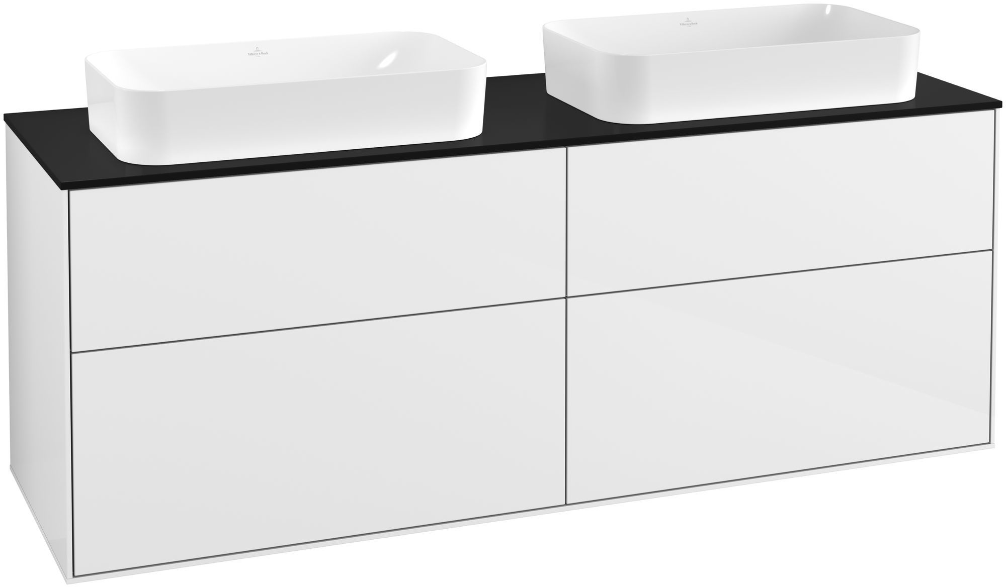 Villeroy & Boch Finion G31 Waschtischunterschrank 4 Auszüge LED-Beleuchtung B:160xH:60,3xT:50,1cm Front, Korpus: Glossy White Lack, Glasplatte: Black Matt G31200GF