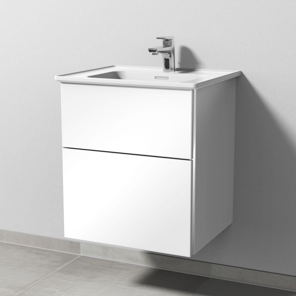 Sanipa 3way Waschtischunterschrank für Ideal Standard Strada II T2988 2 Auszüge L:58,2xB:50xT:44,7cm Weiß-Soft BR73343