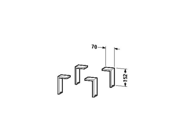 Duravit Sockelfuß Universal 65x70x152mm 4 Stück chrom UV999400000