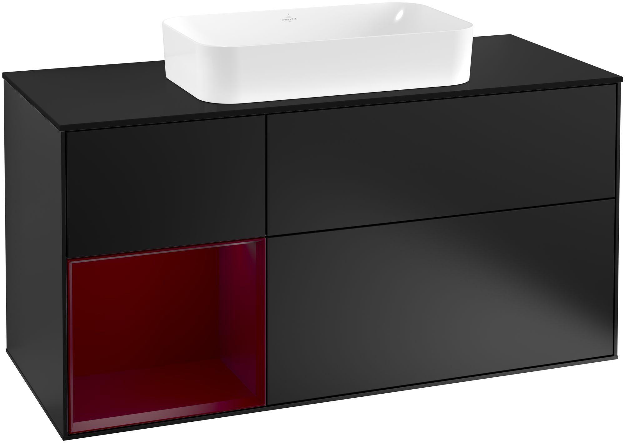 Villeroy & Boch Finion F29 Waschtischunterschrank mit Regalelement 3 Auszüge Waschtisch mittig LED-Beleuchtung B:120xH:60,3xT:50,1cm Front, Korpus: Black Matt Lacquer, Regal: Peony, Glasplatte: Black Matt F292HBPD