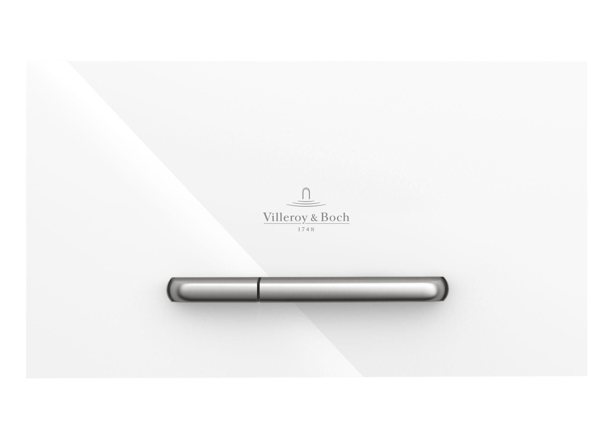 Villeroy & Boch ViConnect WC-Betätigungsplatte B:25,3xH:14,5xT:2cm Glass glossy white 922160RE