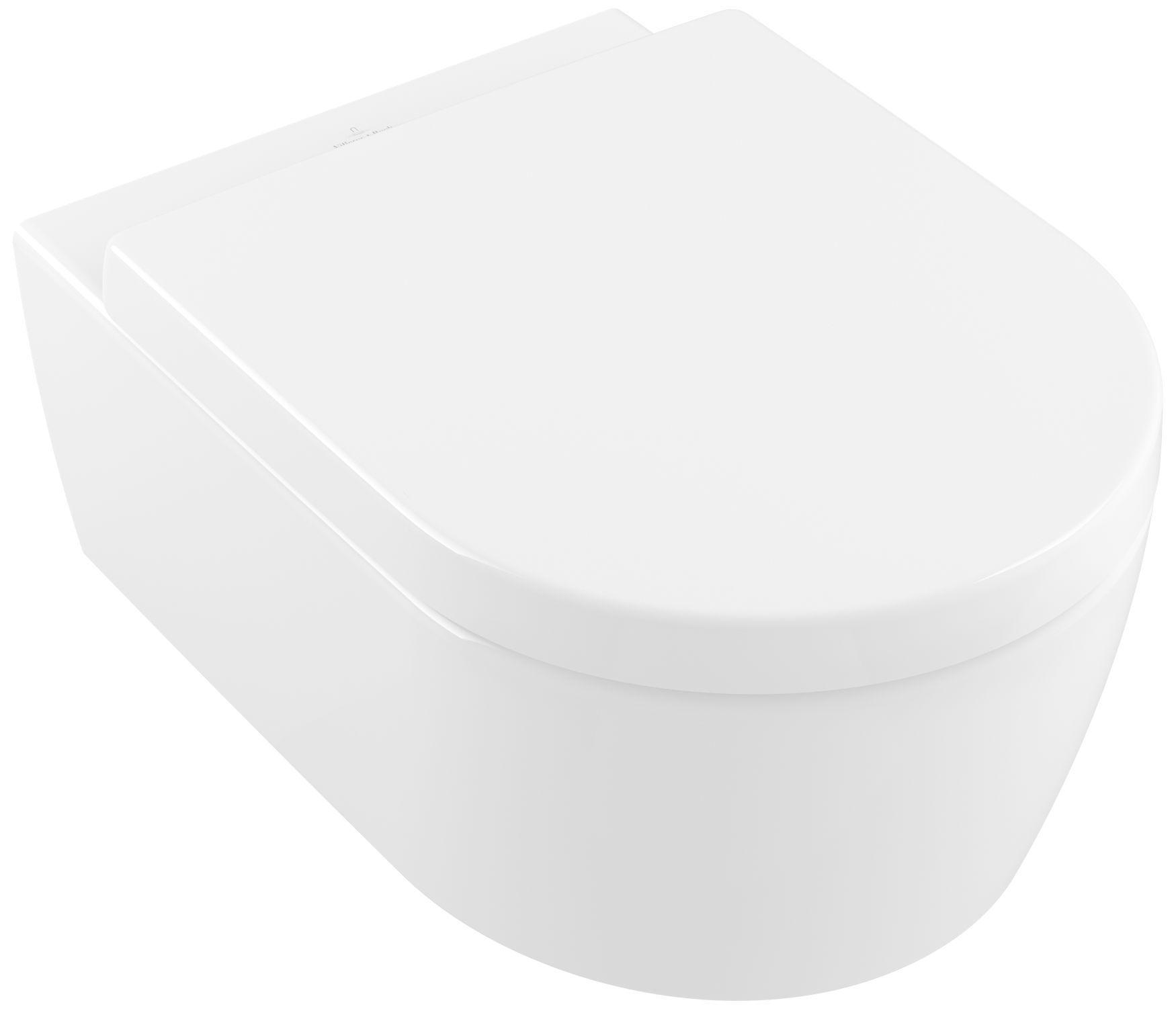 Villeroy & Boch Avento Combi-Pack mit Wand-Tiefspül-WC DirectFlush mit offenem Spülrand L:53xB:37cm weiß mit CeramicPlus mit WC-Sitz mit Absenkautomatik 5656HRR1