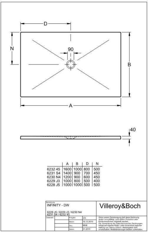 Villeroy & Boch Subway Infinity Duschwanne L:160xB:100xH:4 cm ungeschnitten weiß mit Antirutsch 62324502