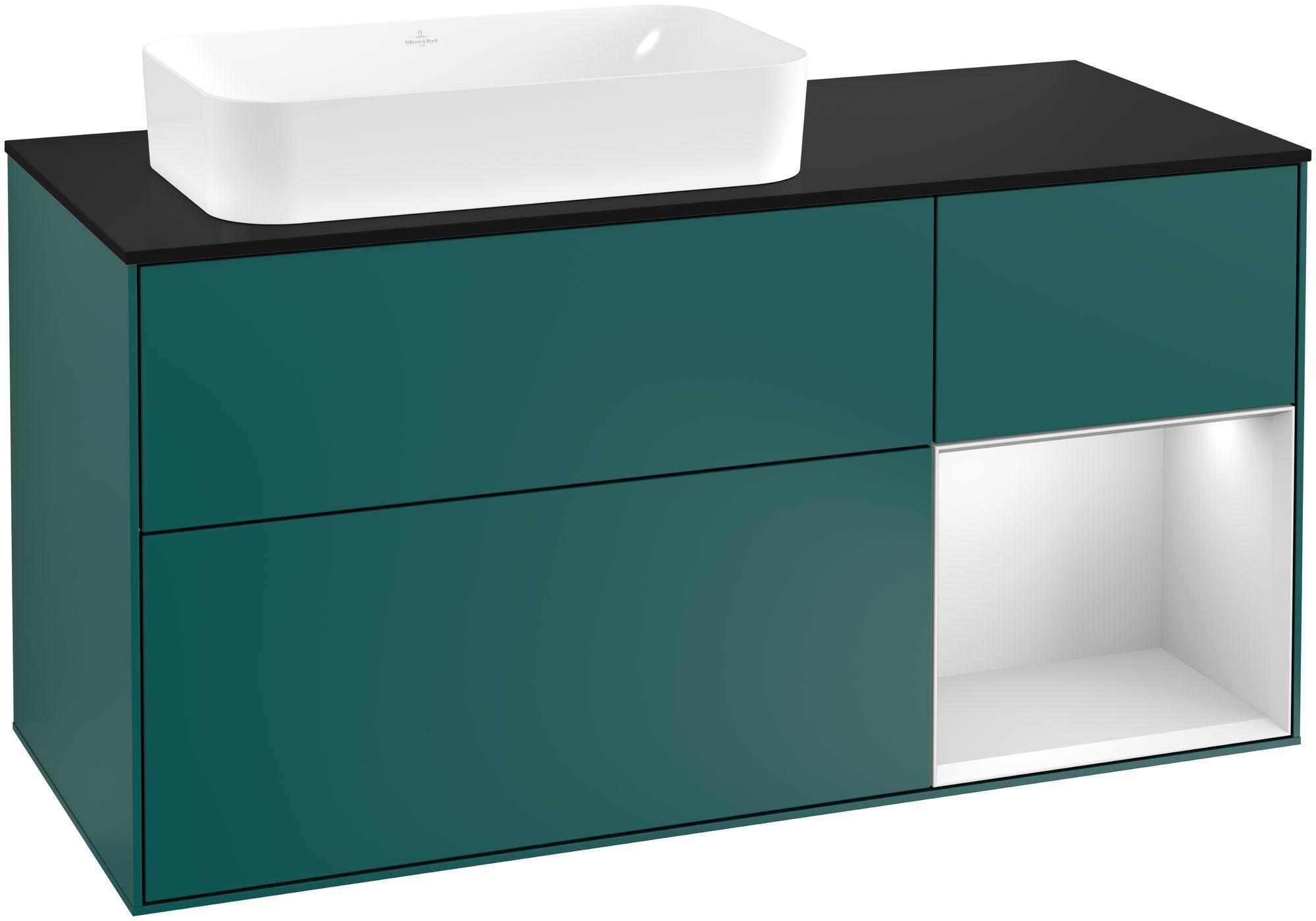 Villeroy & Boch Finion F28 Waschtischunterschrank mit Regalelement 3 Auszüge Waschtisch links LED-Beleuchtung B:120xH:60,3xT:50,1cm Front, Korpus: Cedar, Regal: Weiß Matt Soft Grey, Glasplatte: Black Matt F282MTGS