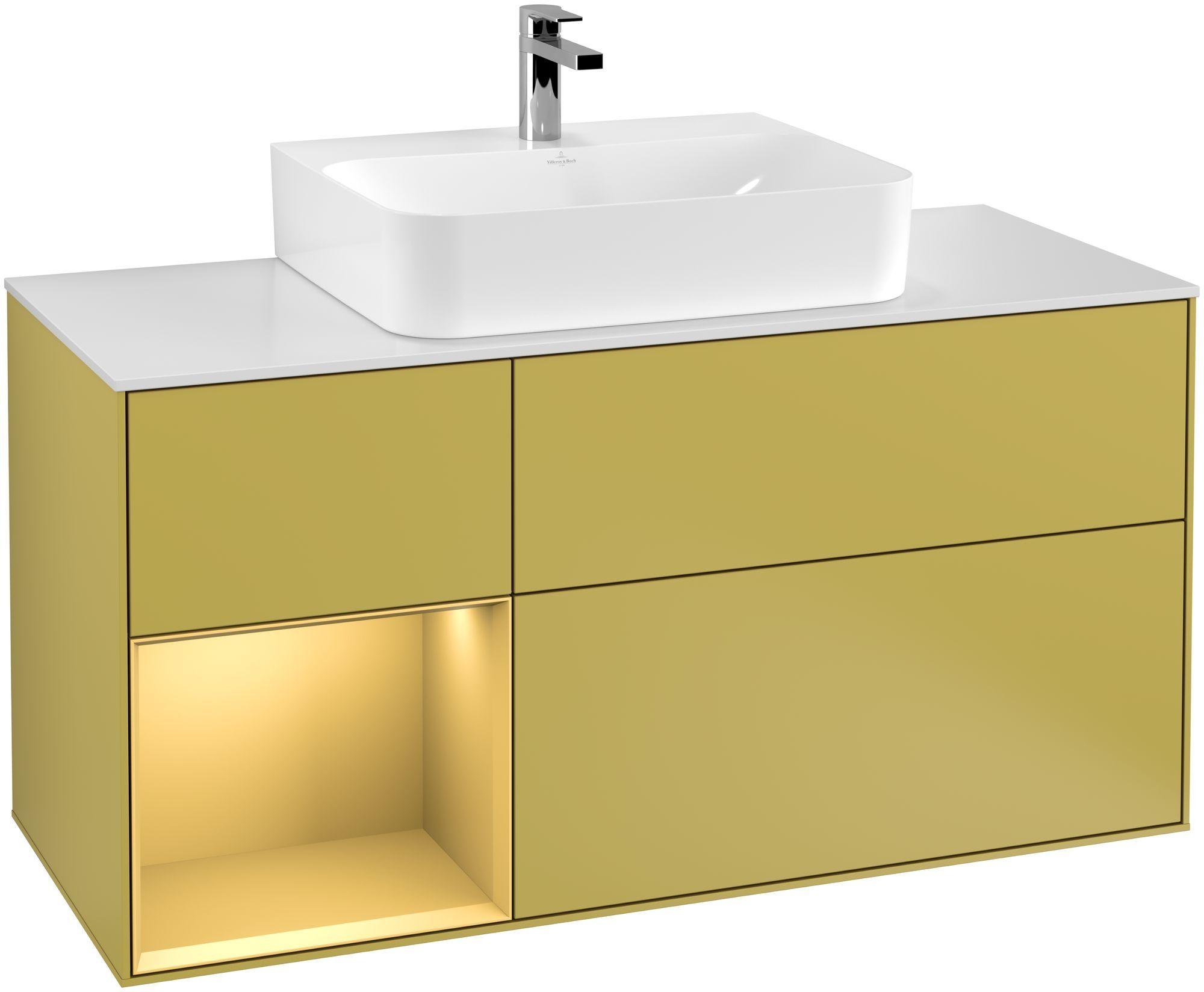 Villeroy & Boch Finion G16 Waschtischunterschrank mit Regalelement 3 Auszüge Waschtisch mittig LED-Beleuchtung B:120xH:60,3xT:50,1cm Front, Korpus: Sun, Regal: Gold Matt, Glasplatte: White Matt G161HFHE