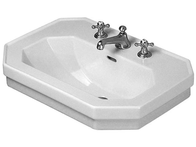 Duravit 1930 Waschtisch B:80xT:55cm 3 Hahnlöcher mit Überlauf weiß 0438800030
