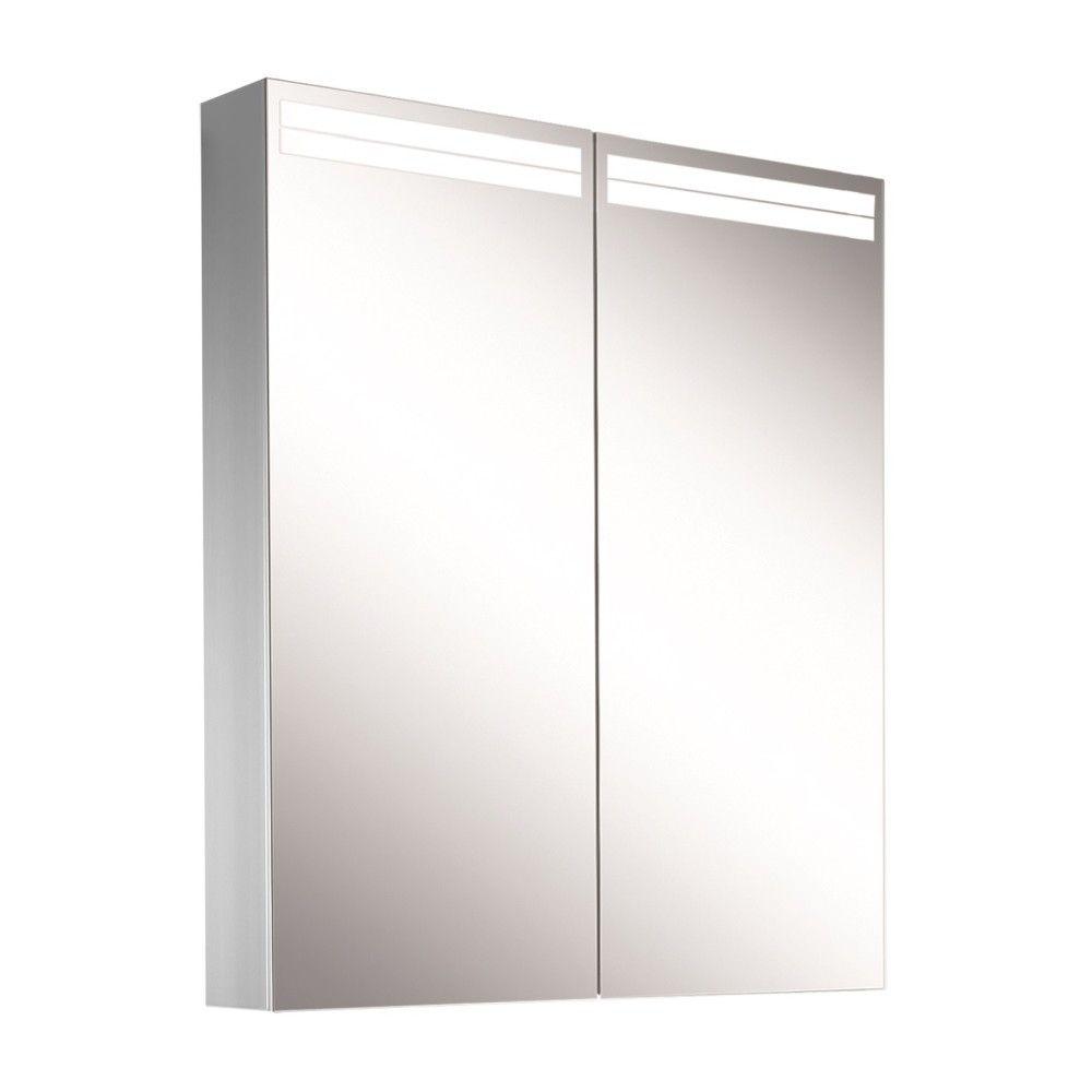Schneider Spiegelschrank ARANGA Line 60/2/TW B:60xH:70xT:12cm mit Beleuchtung mit Accessoire-Box und Kosmetikspiegel eloxiert 160.460.02.50