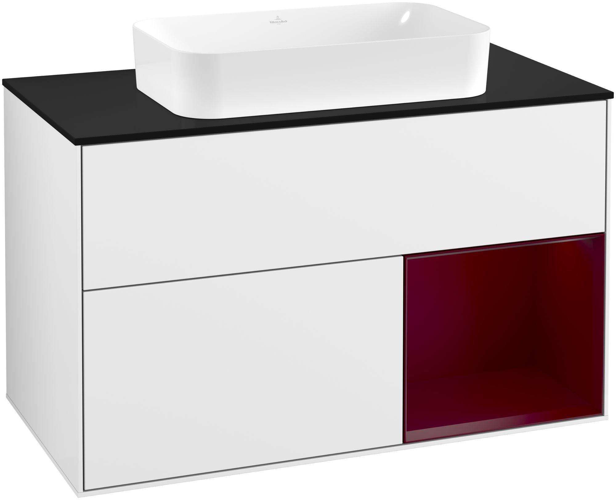Villeroy & Boch Finion G25 Waschtischunterschrank mit Regalelement 2 Auszüge für WT mittig LED-Beleuchtung B:100xH:60,3xT:50,1cm Front, Korpus: Glossy White Lack, Regal: Peony, Glasplatte: Black Matt G252HBGF