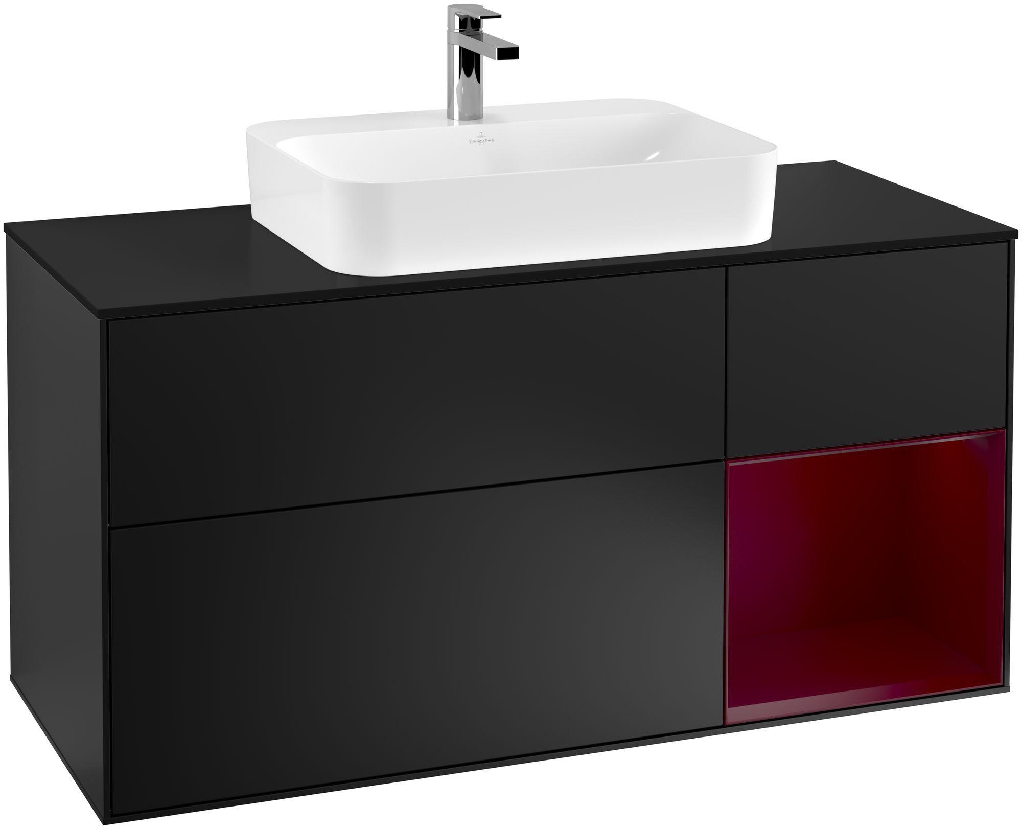 Villeroy & Boch Finion G42 Waschtischunterschrank mit Regalelement 3 Auszüge Waschtisch mittig LED-Beleuchtung B:120xH:60,3xT:50,1cm Front, Korpus: Black Matt Lacquer, Regal: Peony, Glasplatte: Black Matt G422HBPD