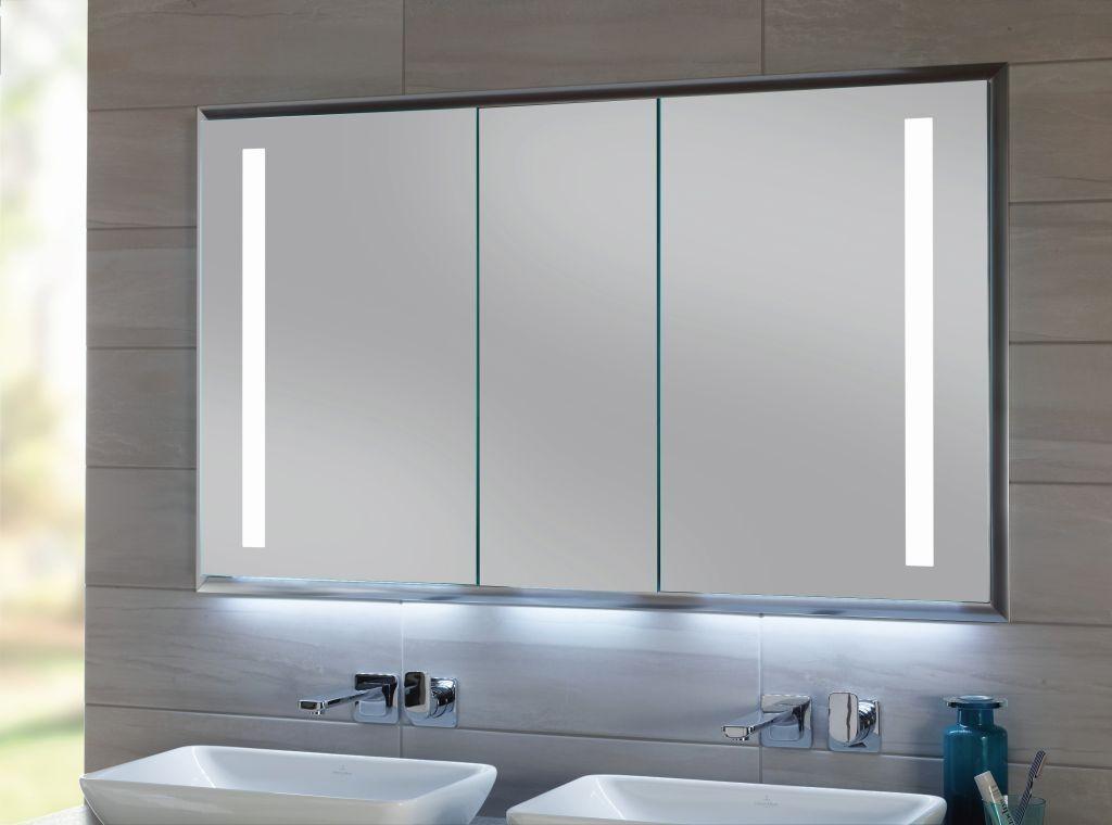 Sanipa Reflection In ALU LED Wandeinbau-Spiegelschrank B:124,9xH:75,0xT:17,3 cm AU3066L