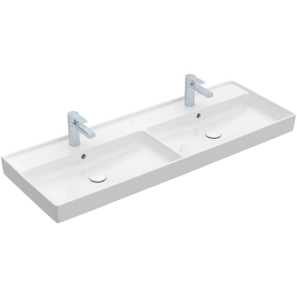 Villeroy & Boch Schrank-Doppelwaschtisch Collaro, 1300 x 470 mm, Rechteck, 2HL. 3 Hahnlöcher durchgestochen, ohne Überlauf, ungeschliffen, Weiß Alpin CeramicPlus 4A34D1R1