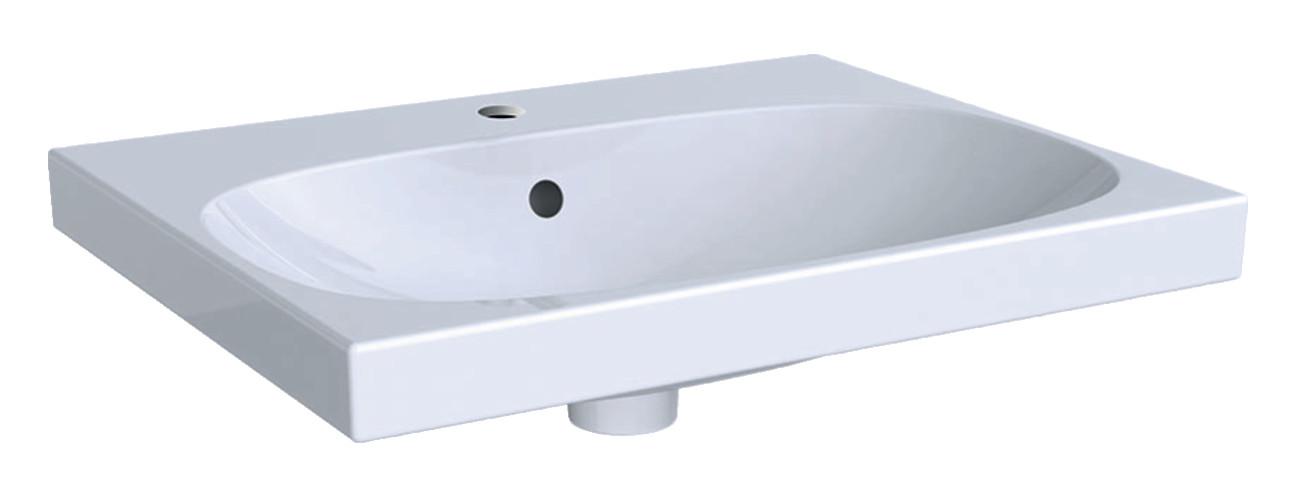 Geberit Keramag Acanto Waschtisch B:60 x T:48 cm mit Hahnloch mit Überlauf weiß KeraTect 500620018