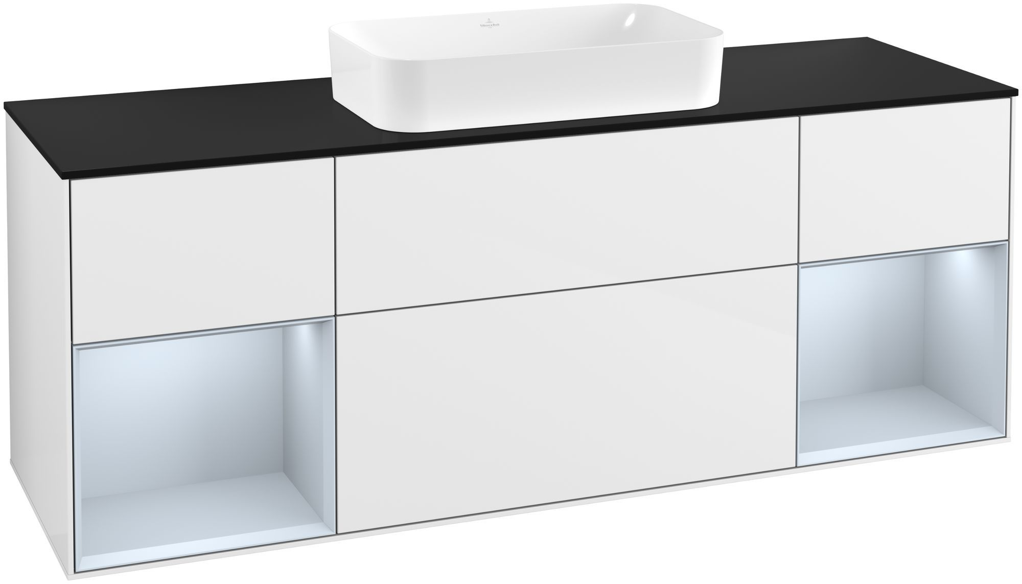 Villeroy & Boch Finion G33 Waschtischunterschrank mit Regalelement 4 Auszüge Waschtisch mittig LED-Beleuchtung B:160xH:60,3xT:50,1cm Front, Korpus: Glossy White Lack, Regal: Cloud, Glasplatte: Black Matt G332HAGF