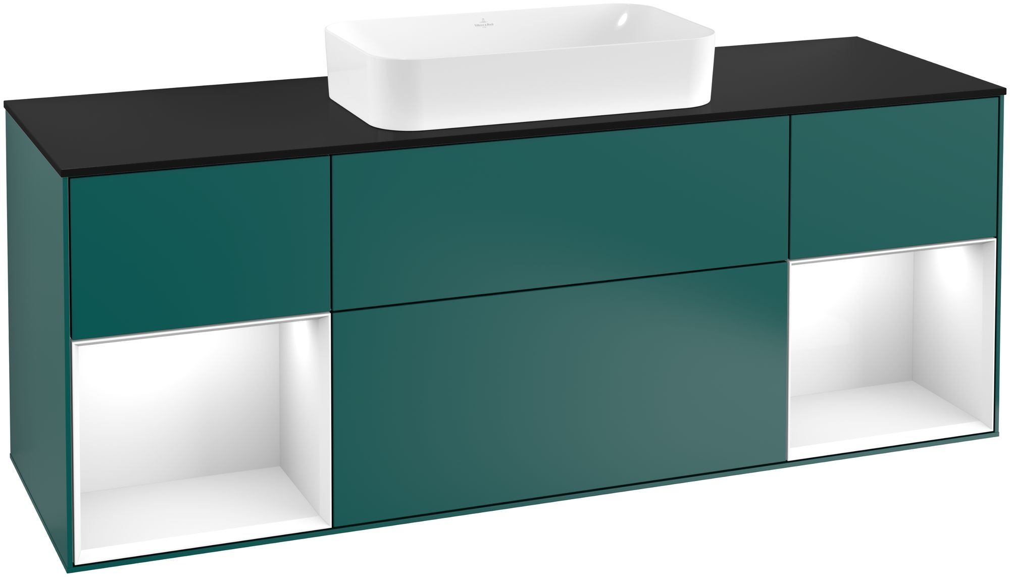 Villeroy & Boch Finion F33 Waschtischunterschrank mit Regalelement 4 Auszüge Waschtisch mittig LED-Beleuchtung B:160xH:60,3xT:50,1cm Front, Korpus: Cedar, Regal: Glossy White Lack, Glasplatte: Black Matt F332GFGS