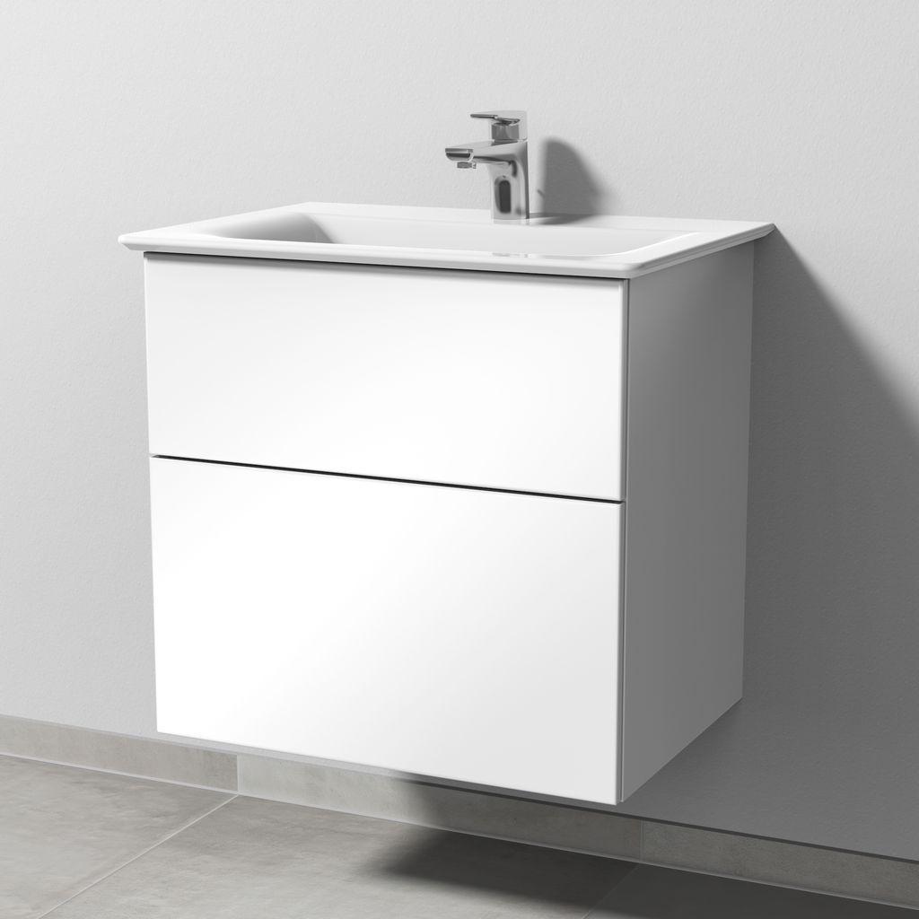 Sanipa 3way Waschtischunterbau mit Auszügen (SF641) H:58,5xB:59xL:43,7cm Weiß-Glanz SF64178