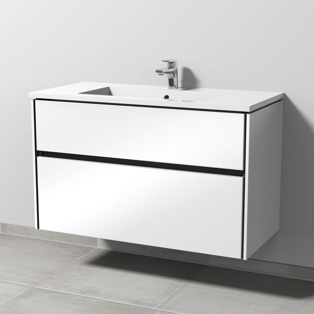 Sanipa Twiga Waschtischunterbau mit Auszügen (SL202) H:61xB:101xL:46,5cm Anthrazit-Glanz SL20279
