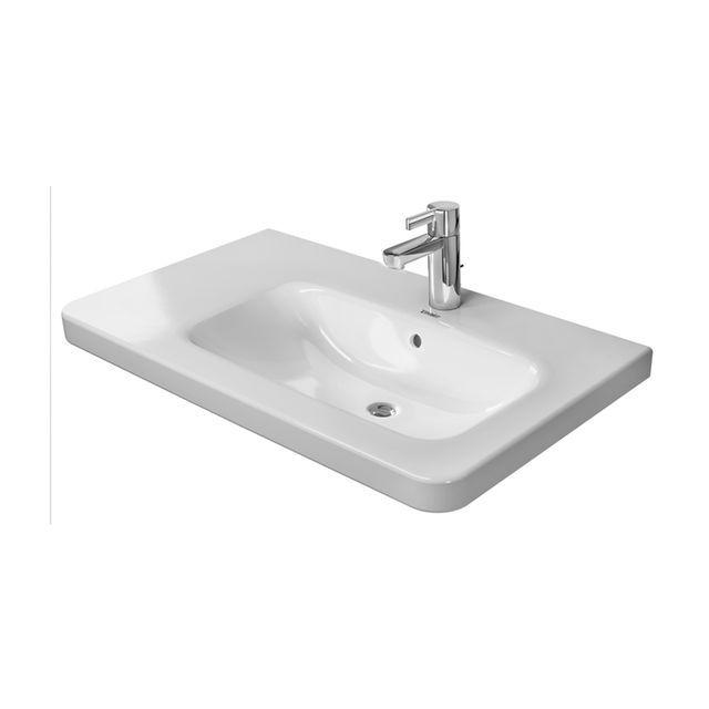 Duravit DuraStyle Möbelwaschtisch B:80xT:48cm ohne Hahnloch mit Überlauf Becken rechts weiß mit WonderGliss 23268000601