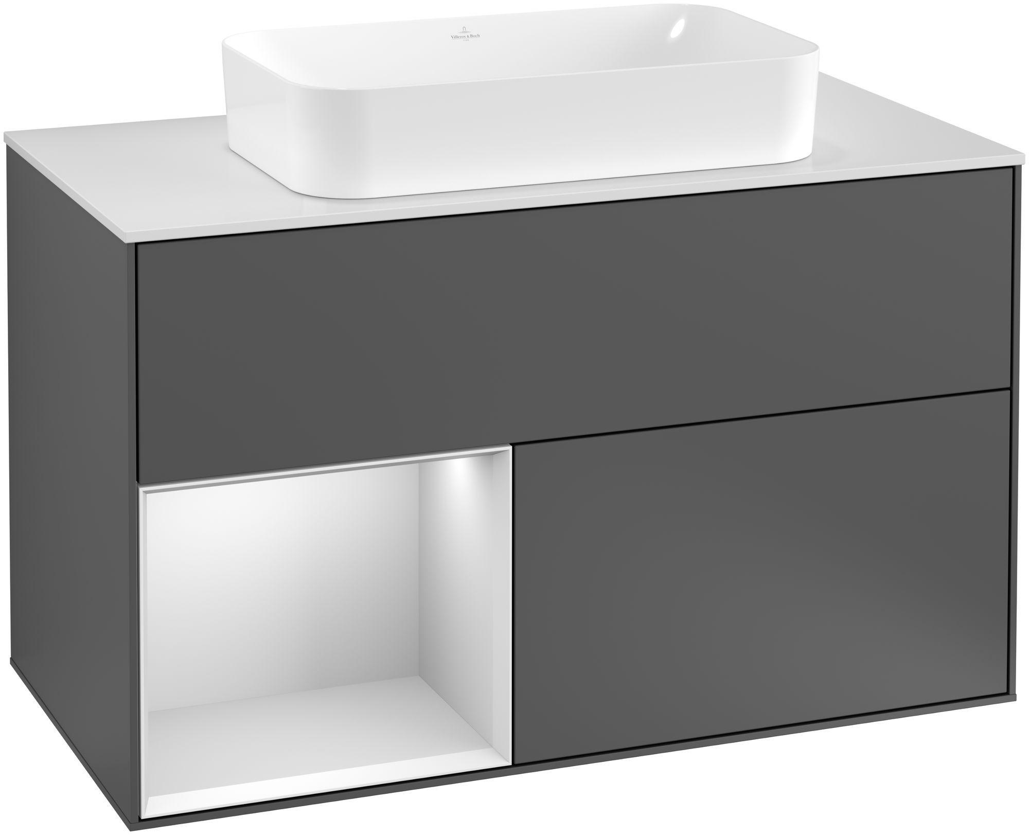 Villeroy & Boch Finion F24 Waschtischunterschrank mit Regalelement 2 Auszüge für WT mittig LED-Beleuchtung B:100xH:60,3xT:50,1cm Front, Korpus: Anthracite Matt, Regal: Weiß Matt Soft Grey, Glasplatte: White Matt F241MTGK