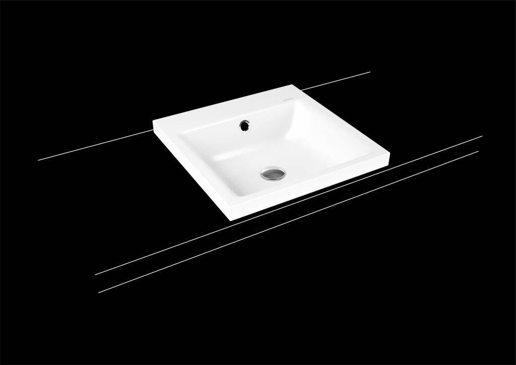 Kaldewei Puro Aufsatzwaschtisch 3153 B:46xT:46cm mit Überlauf ohne Hahnloch weiß mit Perl-Effekt 900306003001