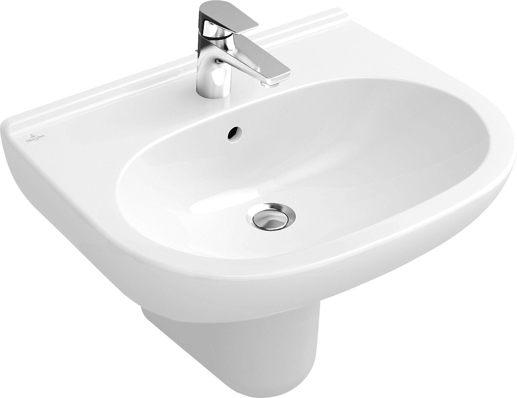 Villeroy & Boch O.novo Waschtisch B:65xT:51cm 1 Hahnloch mit Überlauf weiß mit Ceramicplus 516065R1