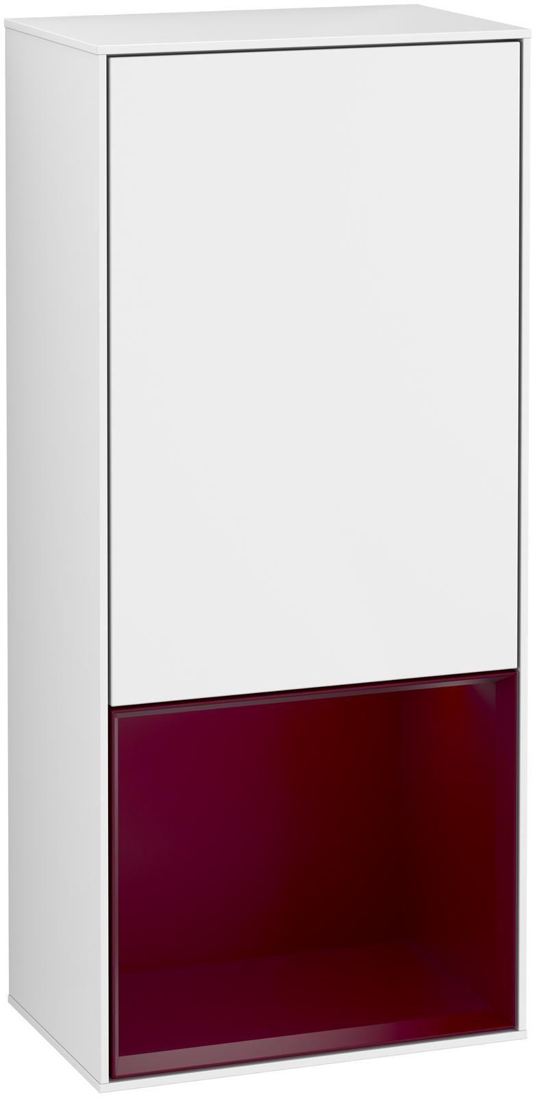 Villeroy & Boch Finion F54 Seitenschrank mit Regalelement 1 Tür Anschlag links LED-Beleuchtung B:41,8xH:93,6xT:27cm Front, Korpus: Glossy White Lack, Regal: Peony F540HBGF