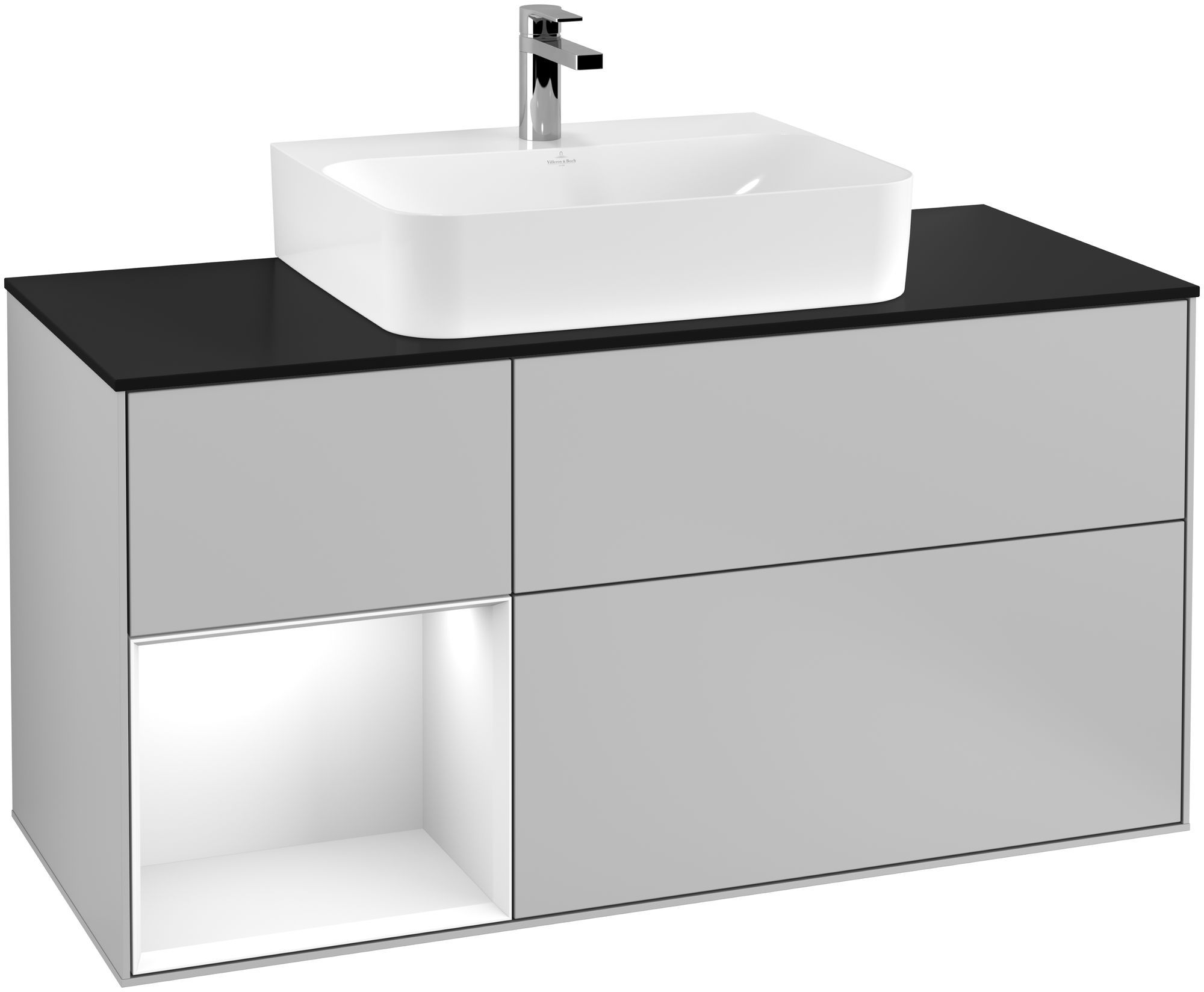 Villeroy & Boch Finion G16 Waschtischunterschrank mit Regalelement 3 Auszüge für WT mittig LED-Beleuchtung B:120xH:60,3xT:50,1cm Front, Korpus: Light Grey Matt, Regal: Glossy White Lack, Glasplatte: Black Matt G162GFGJ
