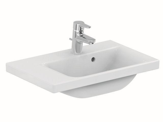 Ideal Standard Connect Space Waschtisch B:60xT:38cm 1 Hahnloch mit Überlauf Ablage rechts weiß mit Ideal Plus E1326MA