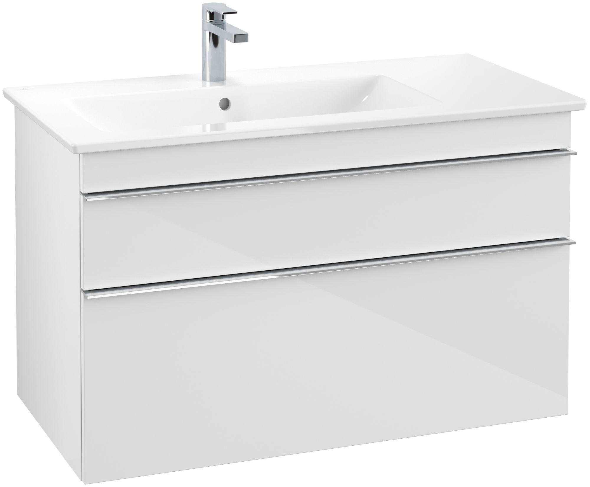 Villeroy & Boch Venticello Waschtischunterschrank 2 Auszüge B:953xT:502xH:590mm glossy weiß Griffe chrom A92701DH