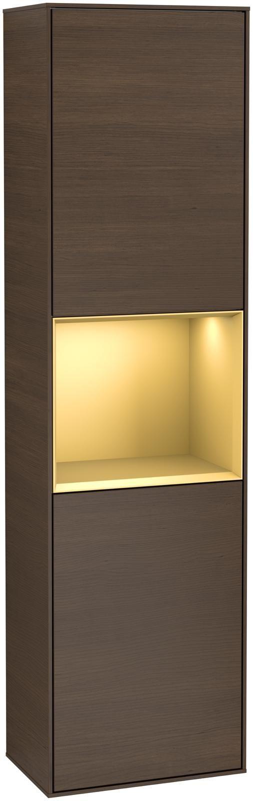 Villeroy & Boch Finion F46 Hochschrank mit Regalelement 2 Türen Anschlag links LED-Beleuchtung B:41,8xH:151,6xT:27cm Front, Korpus: Walnut Veneer, Regal: Gold Matt F460HFGN
