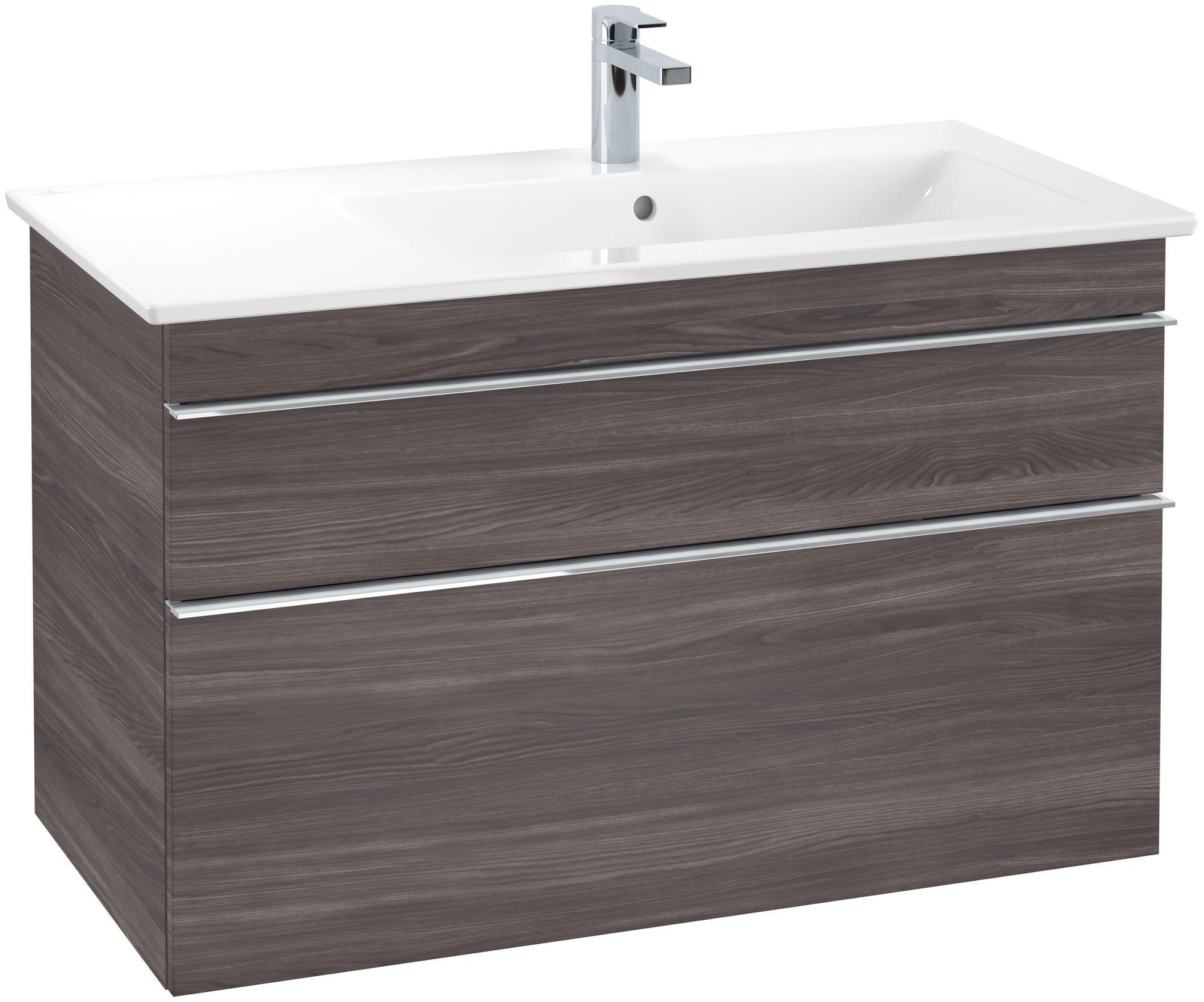 Villeroy & Boch Venticello Waschtischunterschrank 2 Auszüge B:953xT:502xH:590mm eiche graphit Griffe chrom A92801FQ