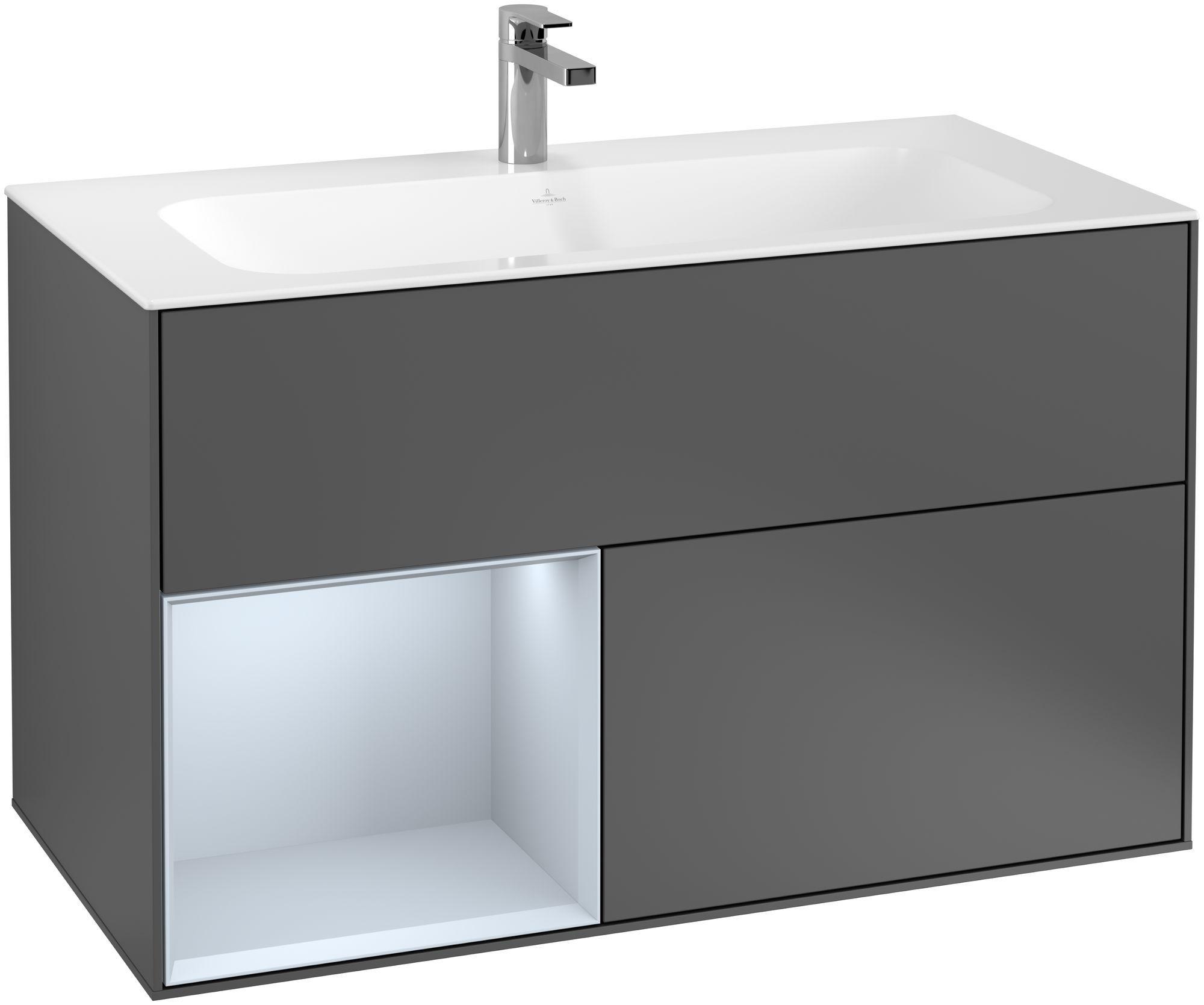 Villeroy & Boch Finion F03 Waschtischunterschrank mit Regalelement 2 Auszüge LED-Beleuchtung B:99,6xH:59,1xT:49,8cm Front, Korpus: Anthracite Matt, Regal: Cloud F030HAGK