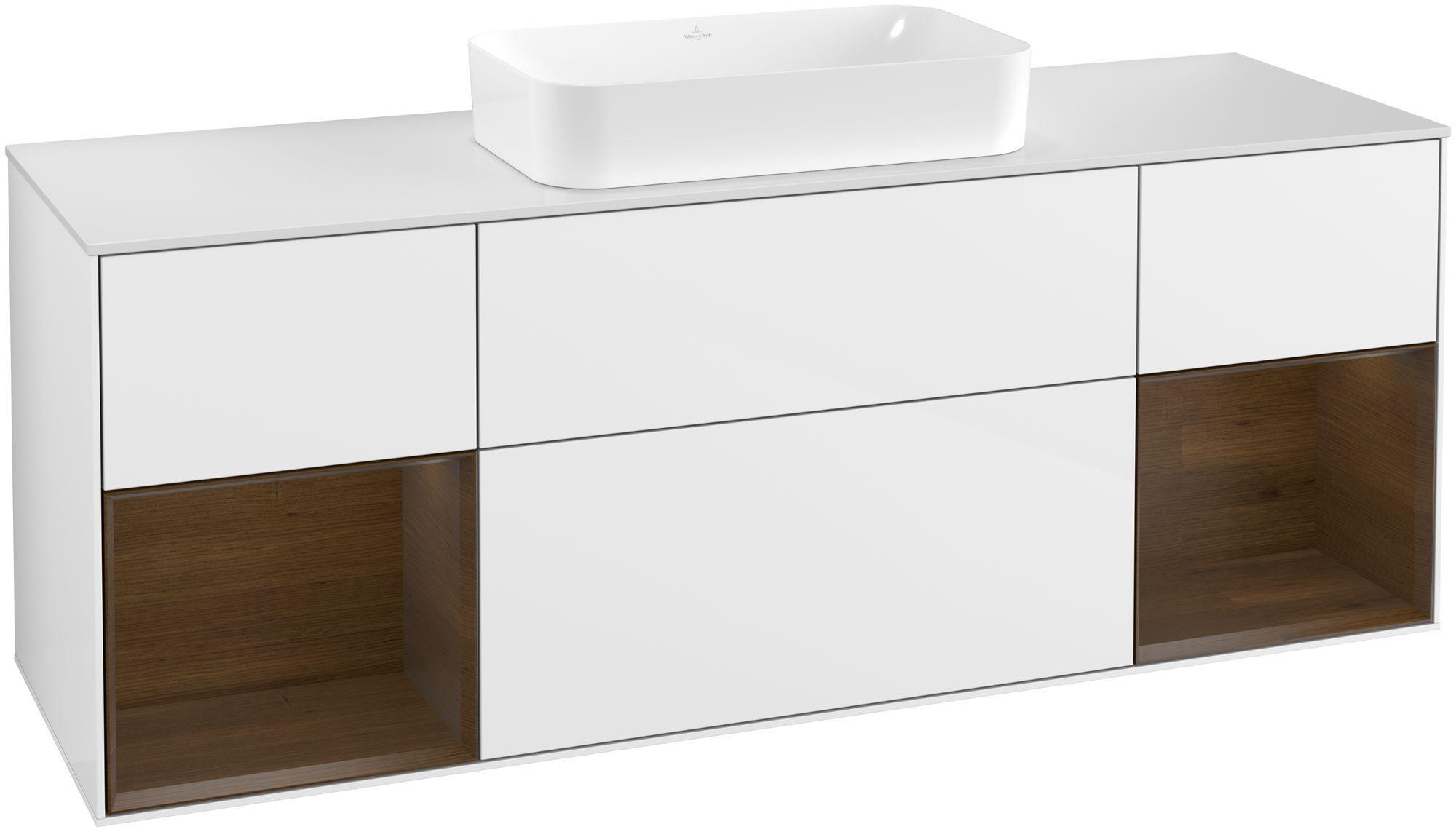 Villeroy & Boch Finion F33 Waschtischunterschrank mit Regalelement 4 Auszüge Waschtisch mittig LED-Beleuchtung B:160xH:60,3xT:50,1cm Front, Korpus: Glossy White Lack, Regal: Walnut Veneer, Glasplatte: White Matt F331GNGF